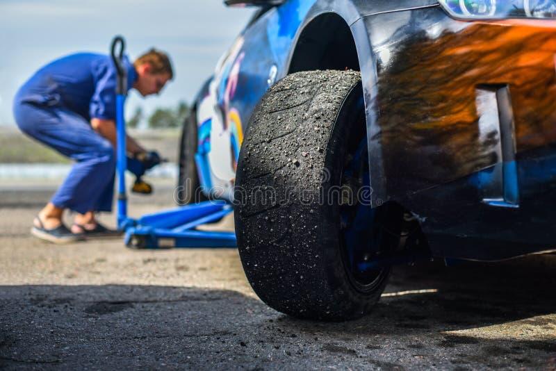 Drift car tire stock photography