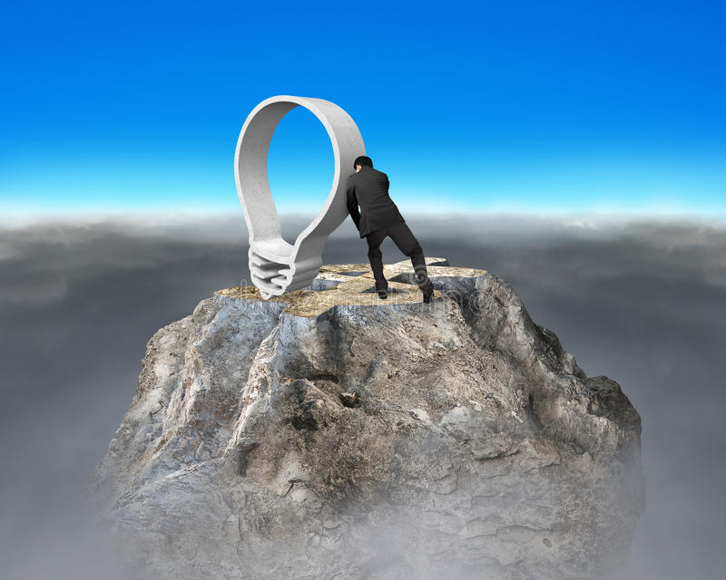 Driftig lightbulb för affärsman på pe för berg för översikt för dollartecken royaltyfri fotografi