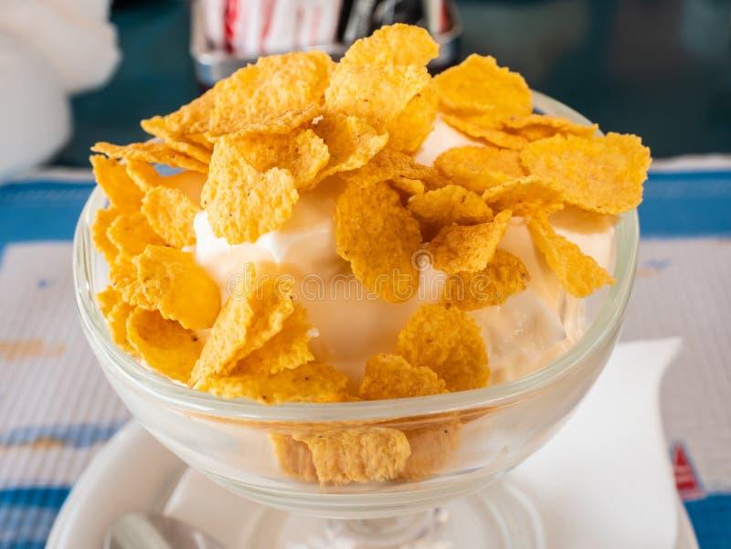 Driftig medelhavs- frukost med grekisk yoghurt och att konservera flingor med honung royaltyfri fotografi