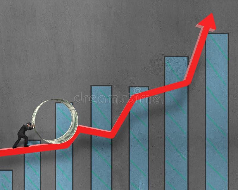 Driftig pengarcirkel för affärsman på att växa den röda pilen med diagrammet royaltyfri bild