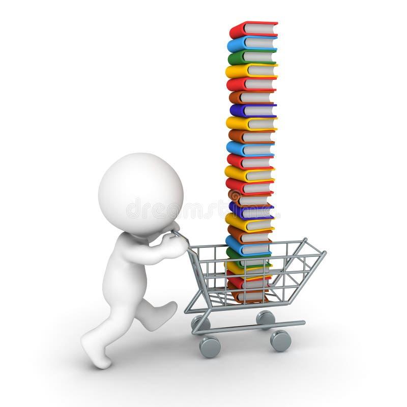 driftig shoppingvagn för tecken 3D mycket av böcker vektor illustrationer