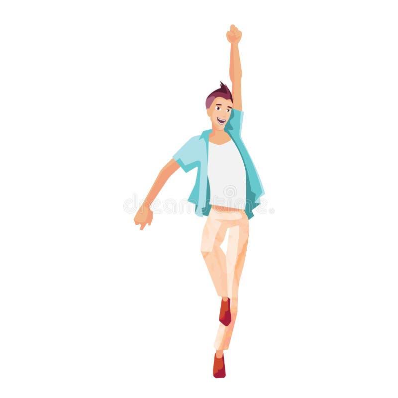Driftig ung grabb, dans och att ha gyckel, under modern musik stock illustrationer