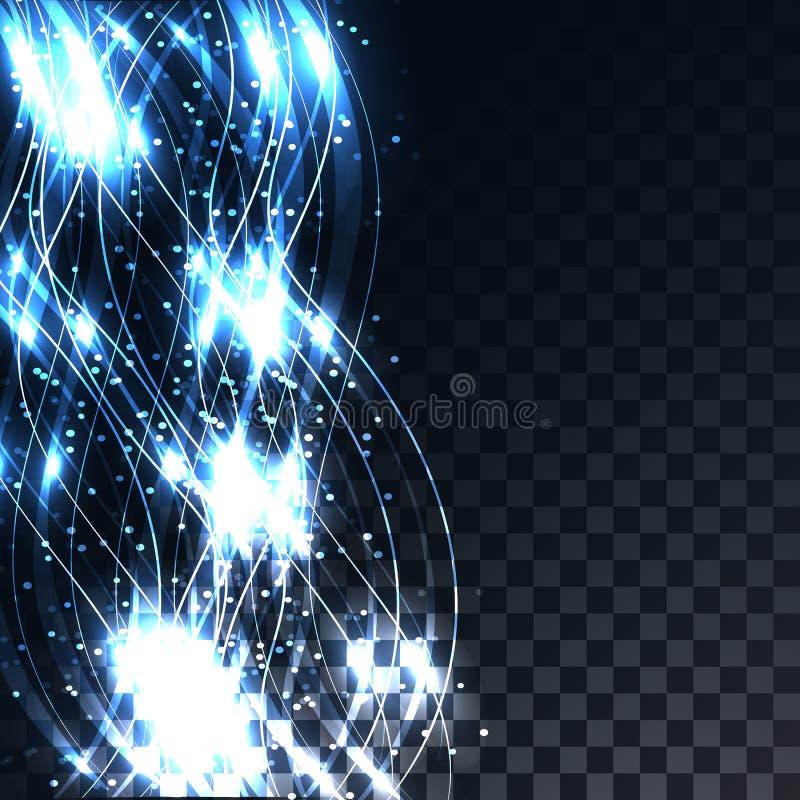 Driftiga magiska elektriska magiska vågor för blålinjenabstrakt begrepp på en genomskinlig mörk kvadrerad grå bakgrund av fyrkant vektor illustrationer