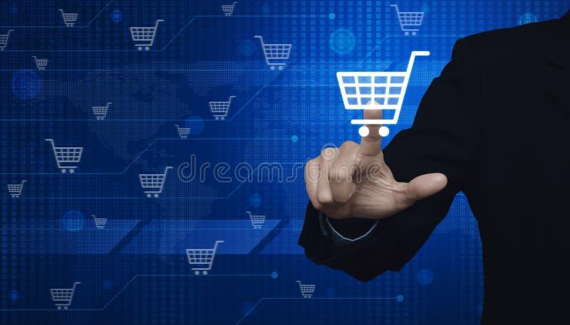 Driftigt faktiskt symbol för affärsman av online-shopping över siffra arkivbild
