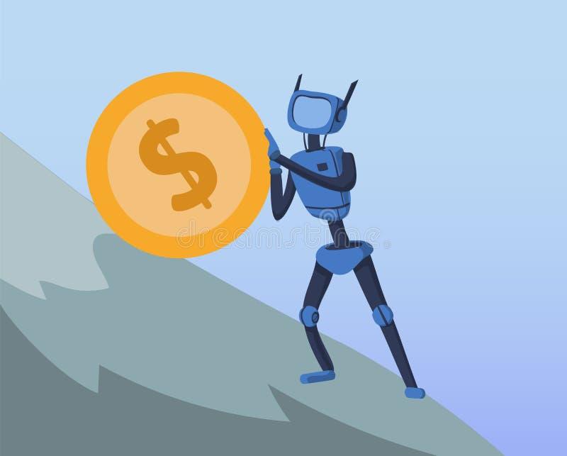 Driftigt stort dollarmynt för robot upp den branta kullen Affär och AI Konstgjord intelligens och finans Cyborg Sisyphean vektor illustrationer