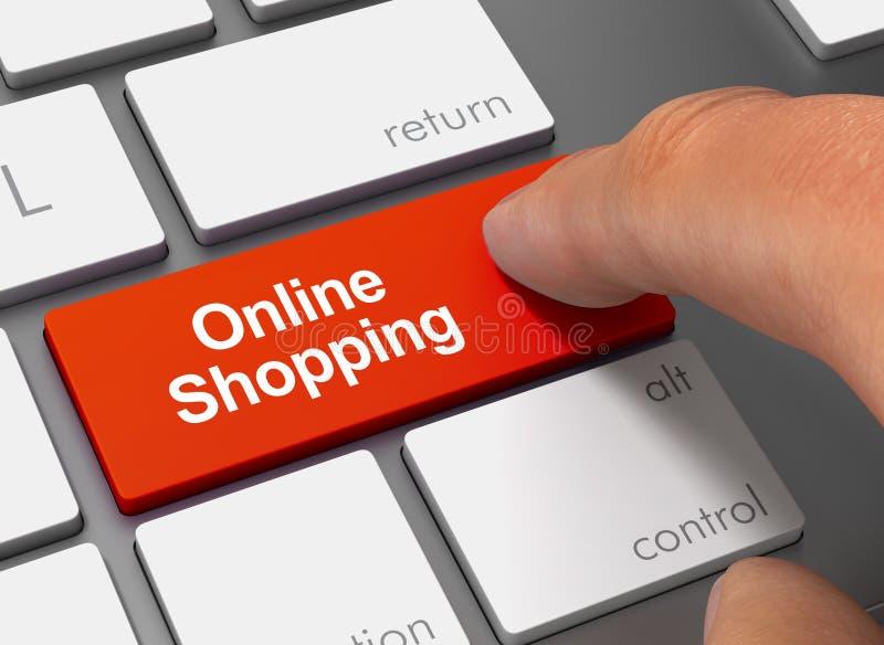 Driftigt tangentbord för online-shopping med illustrationen för finger 3d stock illustrationer