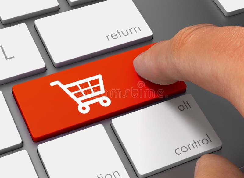driftigt tangentbord för shoppingvagn med illustrationen för finger 3d royaltyfri illustrationer