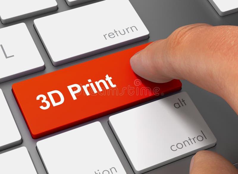 driftigt tangentbord för tryck 3d med illustrationen för finger 3d stock illustrationer