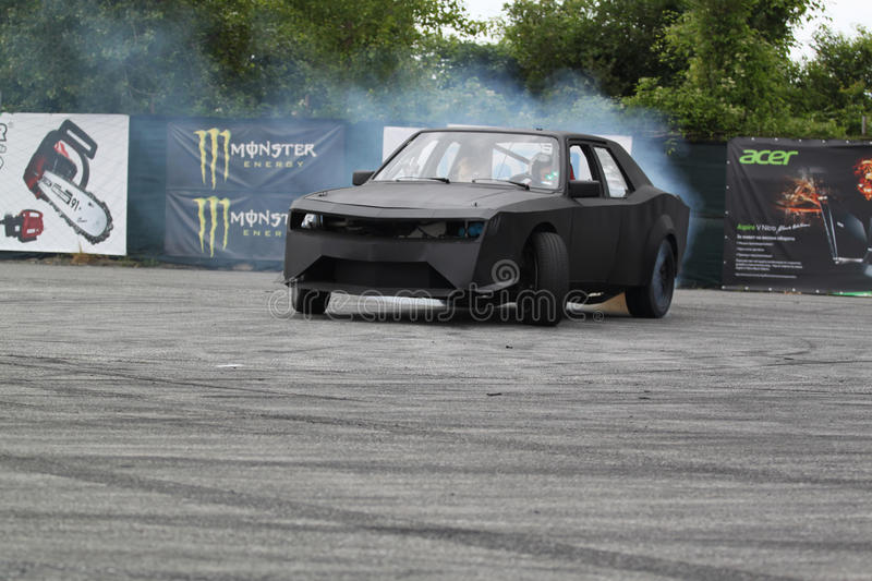 Drifting car. In tunning show royalty free stock photography