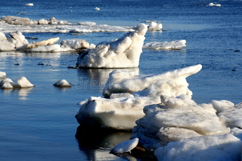 Drifting Ice on river royalty free stock photo