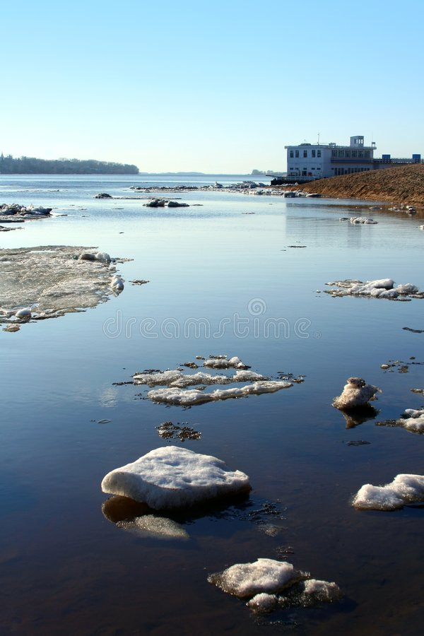 Drifting ice on river Volga royalty free stock photos