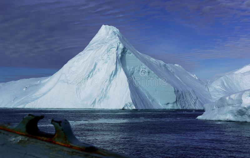 Icebergs in Greenland. Drifting icebergs in the bay of Ilulissat, Greenland stock images