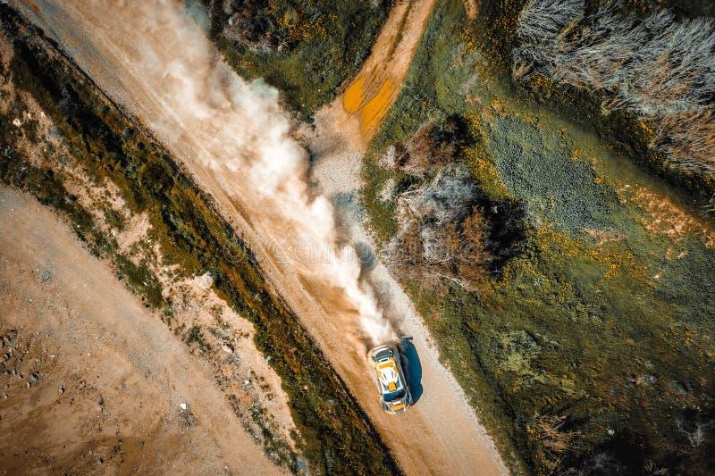 Drifting rally car. Overhead view stock image
