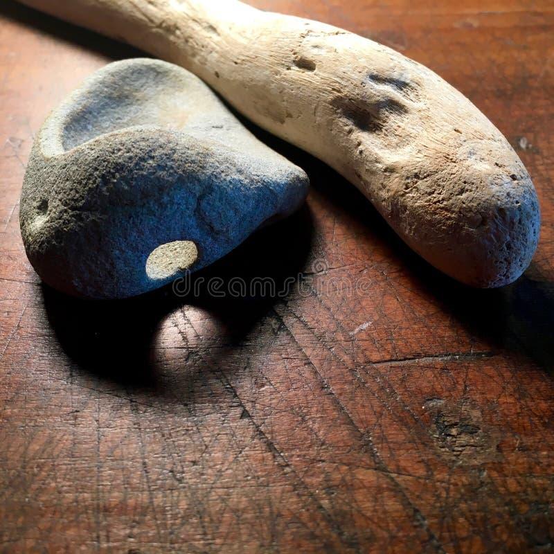 Driftwood и камень стоковые фото