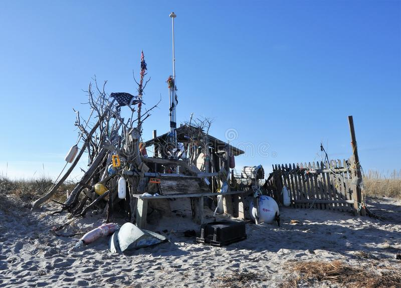 Chatham Beach Shack. Driftwood pirates shack on the beach in Chatham, Massachusetts royalty free stock photography