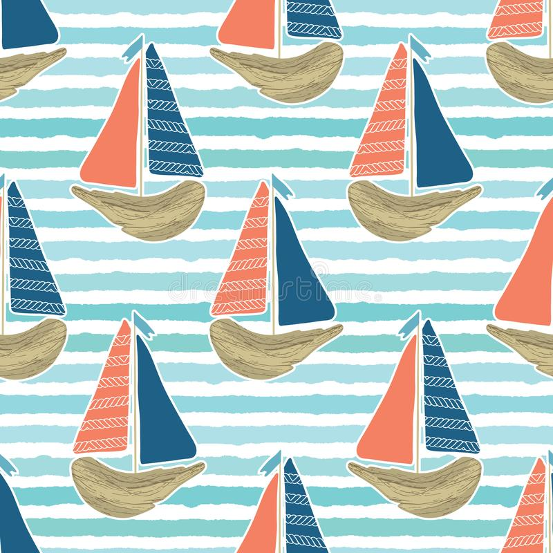 Cute driftwood sailboat on the blue ocean sea pattern. Marine water stripes seamless vector background. Sailing vessel royalty free illustration