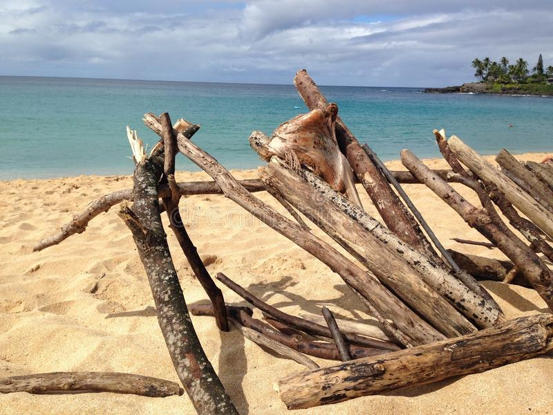 Driftwood at Waimea Bay. Driftwood structure on the sand at Waimea Bay, Hawaii stock images