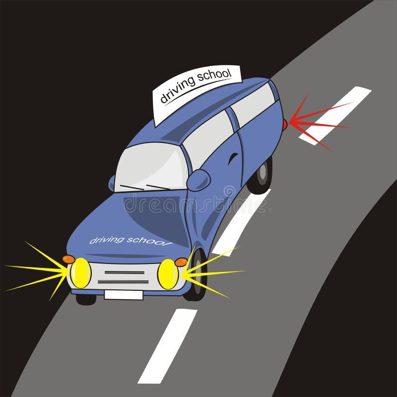 Drijf school - blauwe auto royalty-vrije illustratie