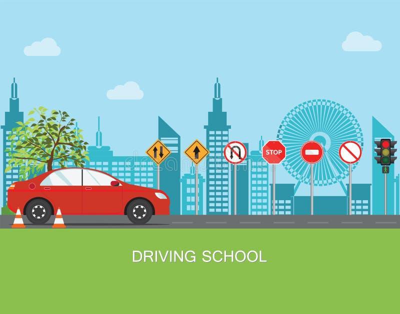 Drijfschool met auto en verkeersteken vector illustratie