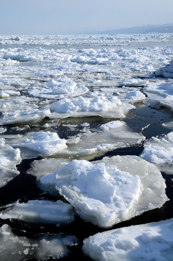 Drijvend ijs in Shiretoko, Hokkaido, Japan stock fotografie