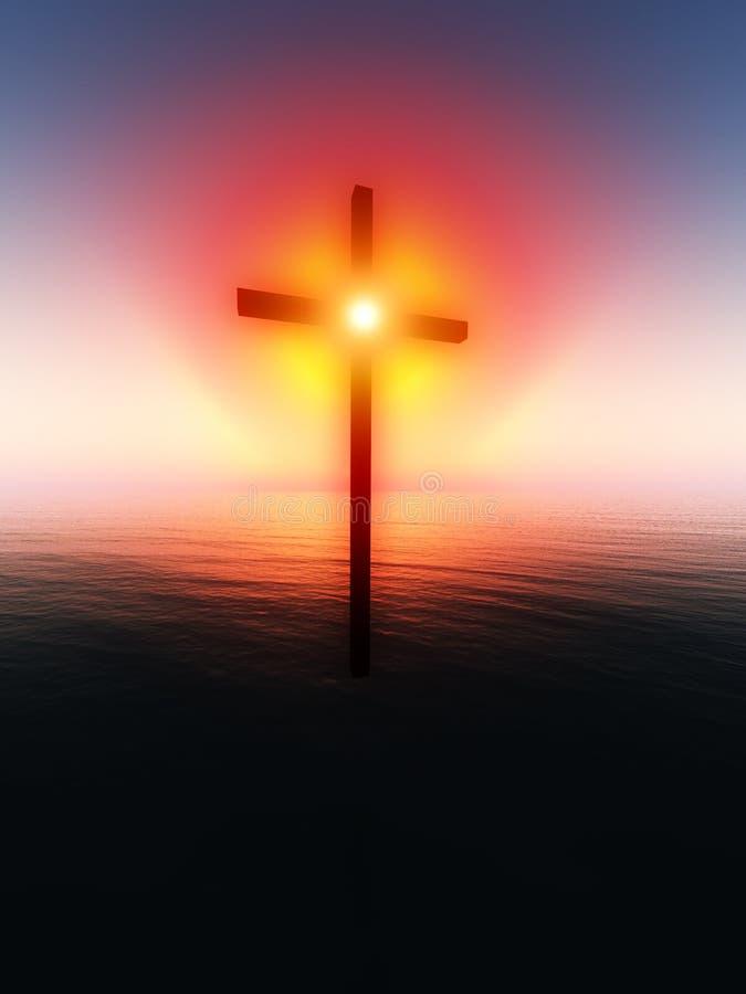 Drijvend Kruis over het Overzees royalty-vrije illustratie