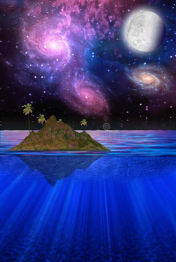 Drijvend Tropisch Eiland vector illustratie