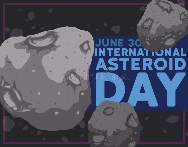 Drijvende Asteroïden in de Ruimte voor Internationale Stervormige Dag, Vectorillustratie royalty-vrije illustratie