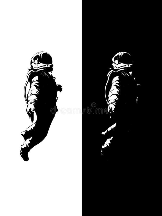 Drijvende Astronaut, Ruimtevaardersgoed met zwarte achtergrond royalty-vrije illustratie