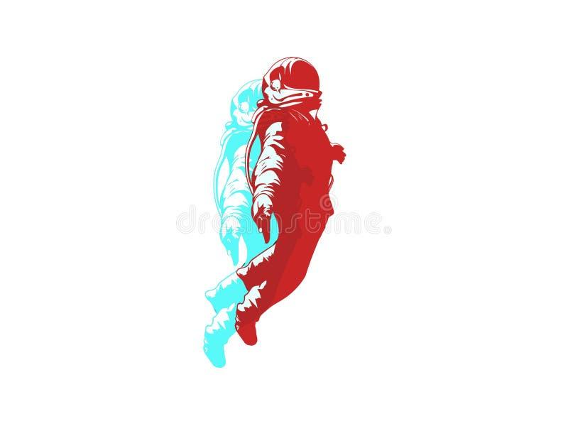 Drijvende Astronaut, Ruimtevaardersgoed met zwarte achtergrond, beweging ddesign, Vectorontwerp stock illustratie