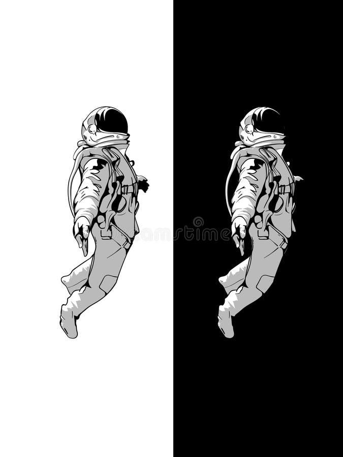 Drijvende Astronaut, Ruimtevaardersgoed met zwarte achtergrond, schaduwontwerp, Vectorontwerp vector illustratie