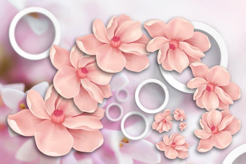 Drijvende bloemen Stereoscopisch fotobehang voor binnenland het 3d teruggeven royalty-vrije illustratie
