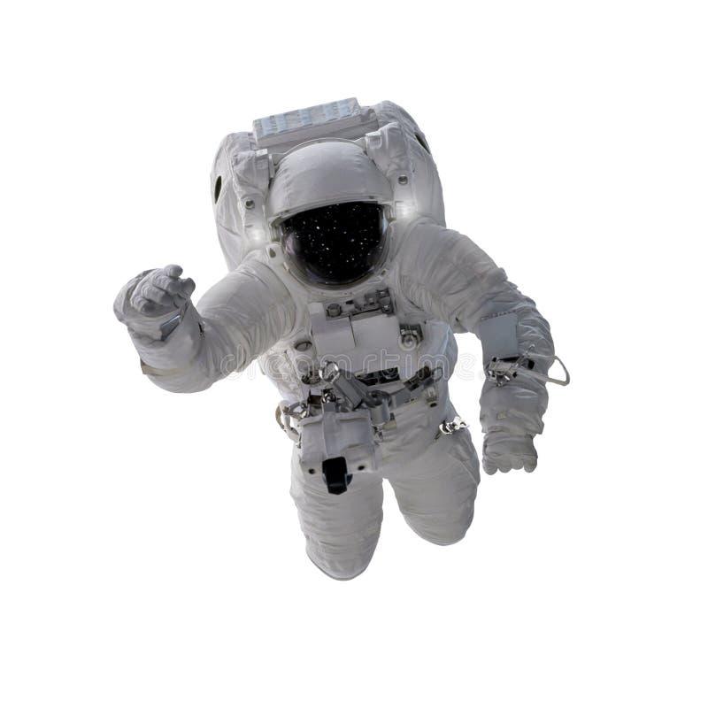 Drijvende die astronaut op witte achtergrond wordt geïsoleerd stock afbeeldingen