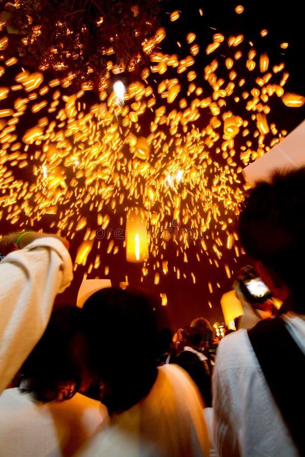 Drijvende lantaarns. royalty-vrije stock foto's