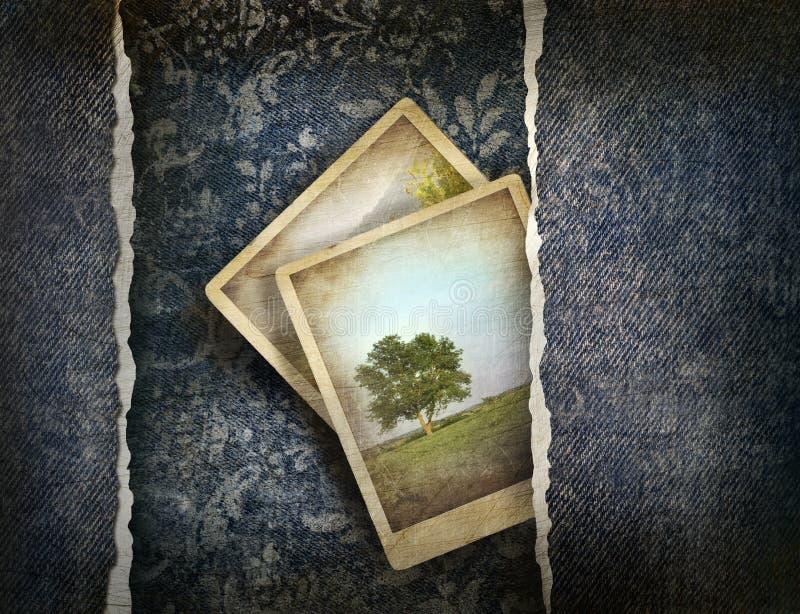 Dril de algodón sucio con las fotos en fondo descolorado stock de ilustración