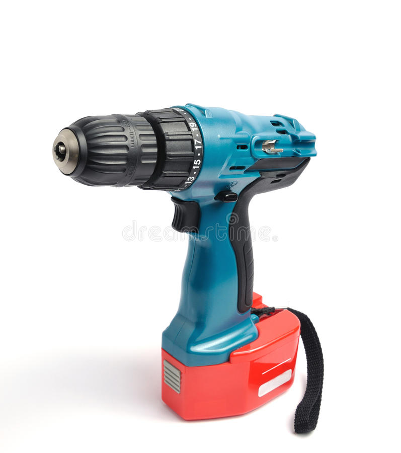 Drill. Electric drill over white background royalty free stock image