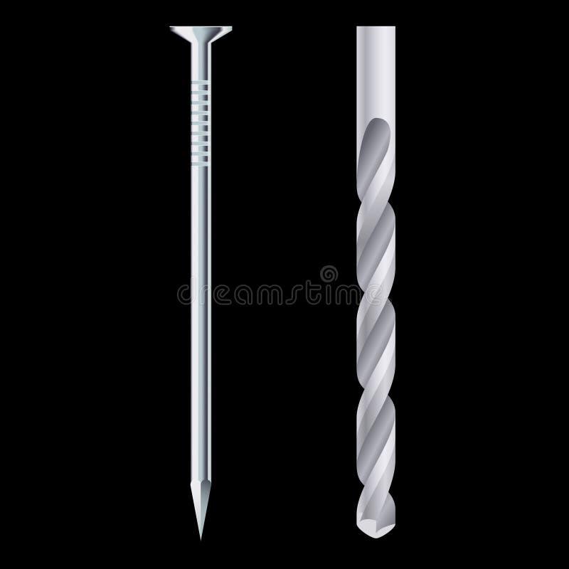 Drill bit and steel nail stock illustration