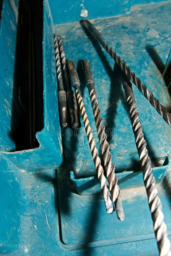 Drill bits in box royalty free stock images