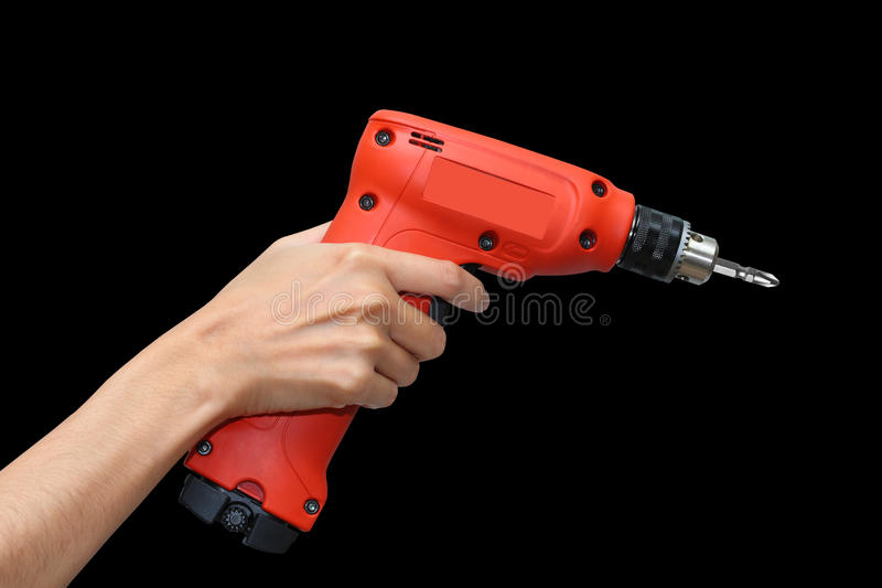 Drill in hand. royalty free stock photography