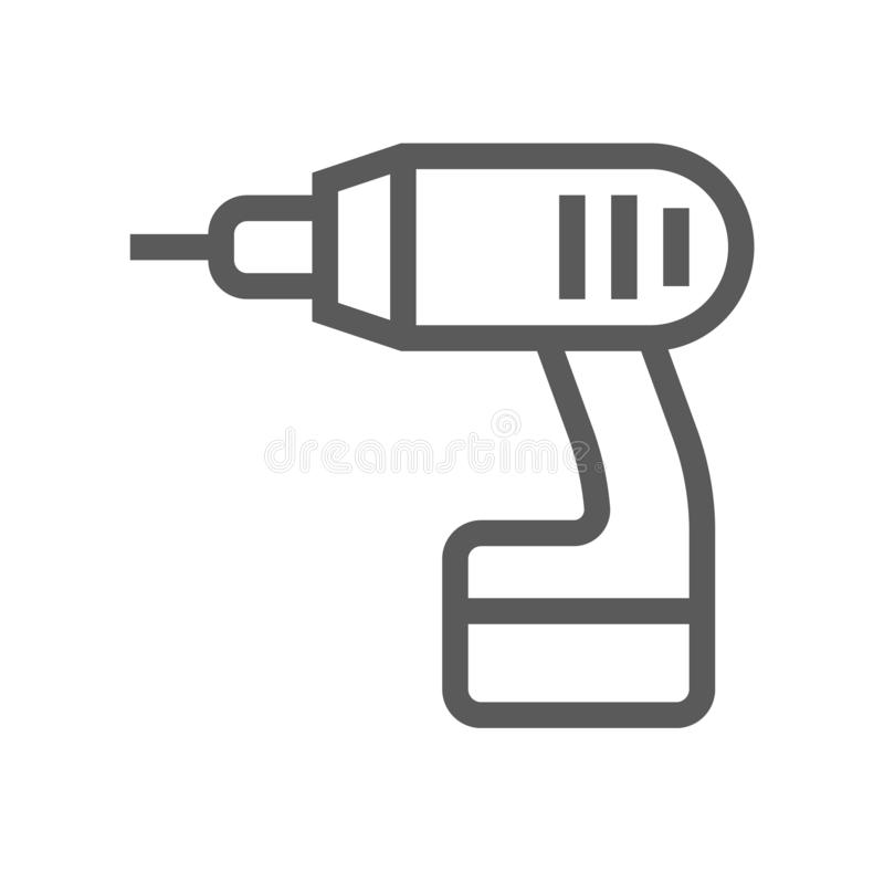 Free Drill. Home Repair And Tools Vector Line Icon Stock Photo - 126811390