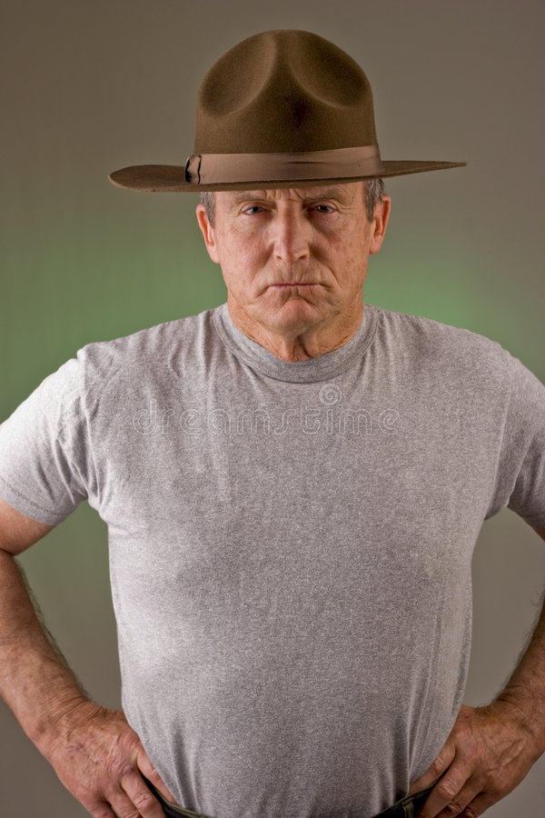 Drill Instructor. Older man posed as drill instructor royalty free stock photography