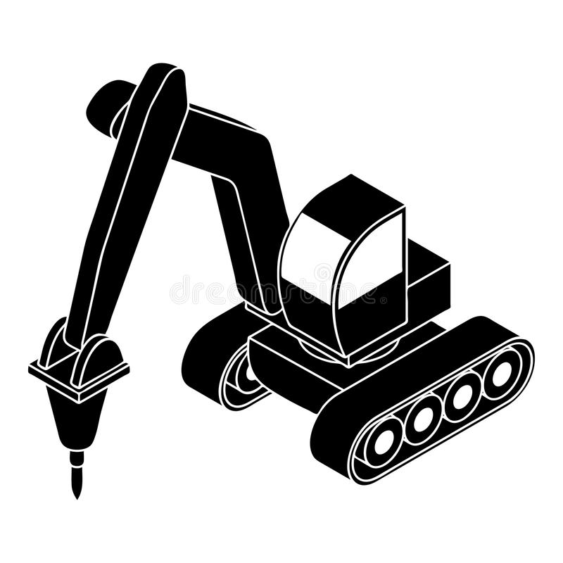 Drill tractor icon, simple style stock illustration
