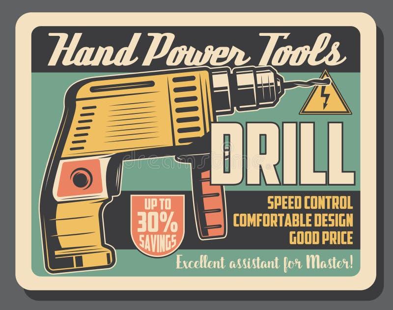 Drillborrhjälpmedel, elektrisk utrustning för hand, varnande tecken royaltyfri illustrationer