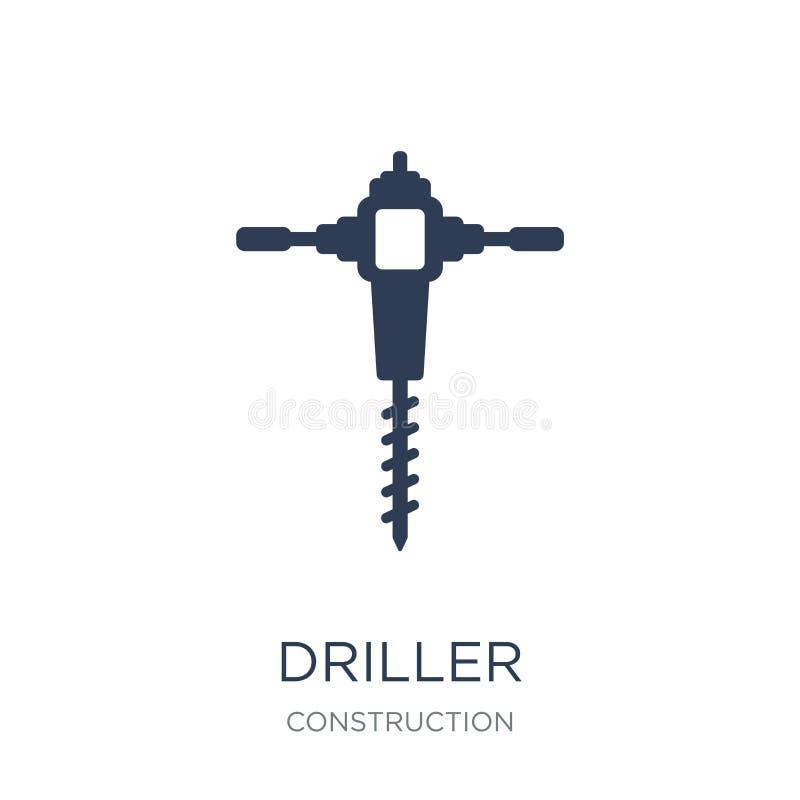 Drillersymbol Moderiktig plan vektorDrillersymbol på vit backgroun stock illustrationer