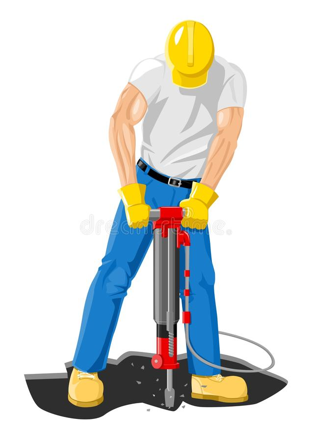 Drilling. Comic illustration of a man drilling vector illustration