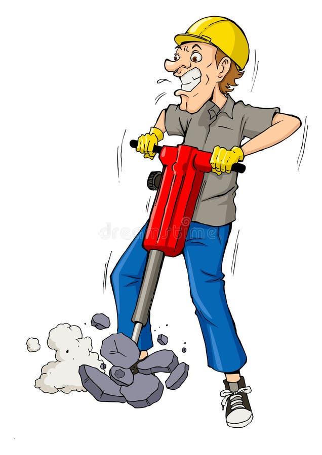 Drilling. Cartoon illustration of a man drilling stock illustration