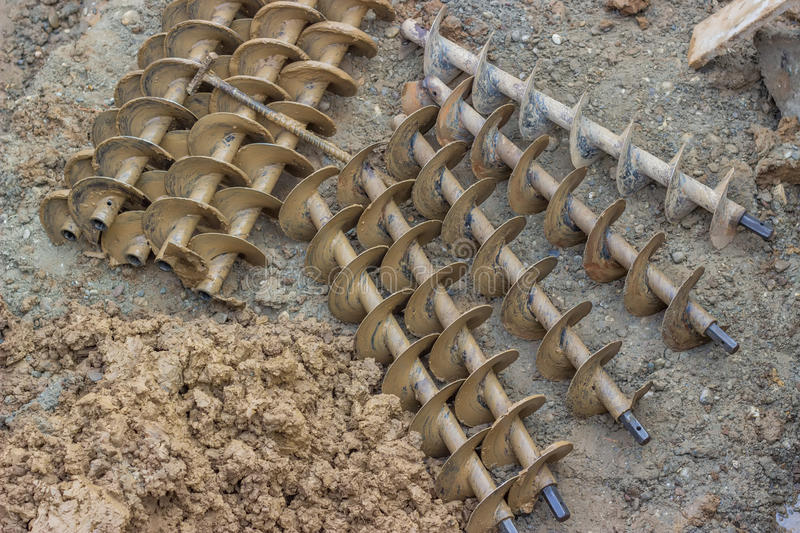 Drilling augers after dirt drill 2 royalty free stock photos