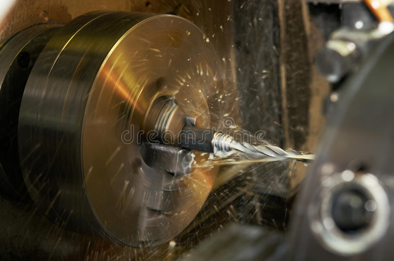 Download Drilling A Hole In Blank On Turning Machine Stock Photo - Image of factory, steel: 11112904