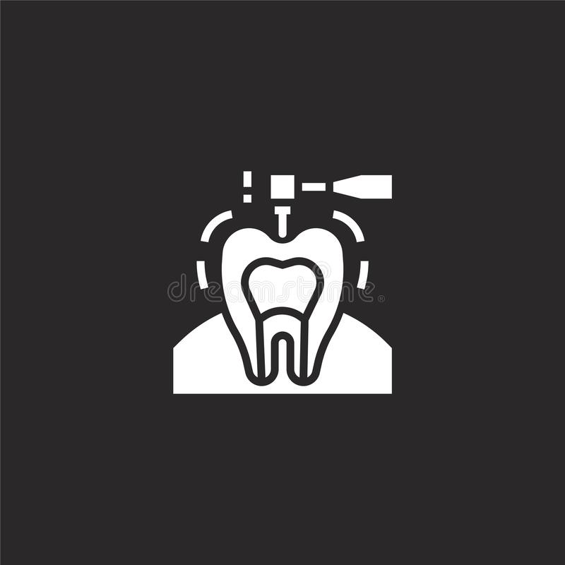 Drilling icon. Filled drilling icon for website design and mobile, app development. drilling icon from filled dental collection. Isolated on black background stock illustration