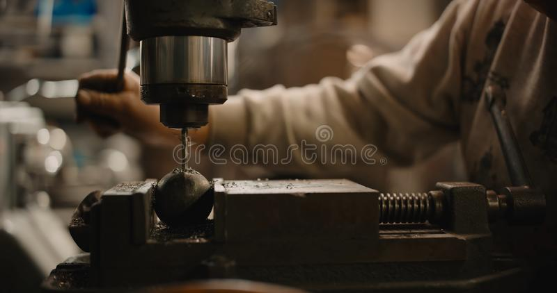 Drilling machine. The drill bit is installed in the drill chuck. royalty free stock photography