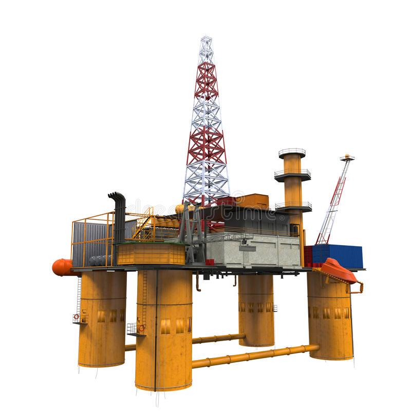 Drilling Offshore Platform Oil Rig. Isolated on white background. 3D Render royalty free stock photography